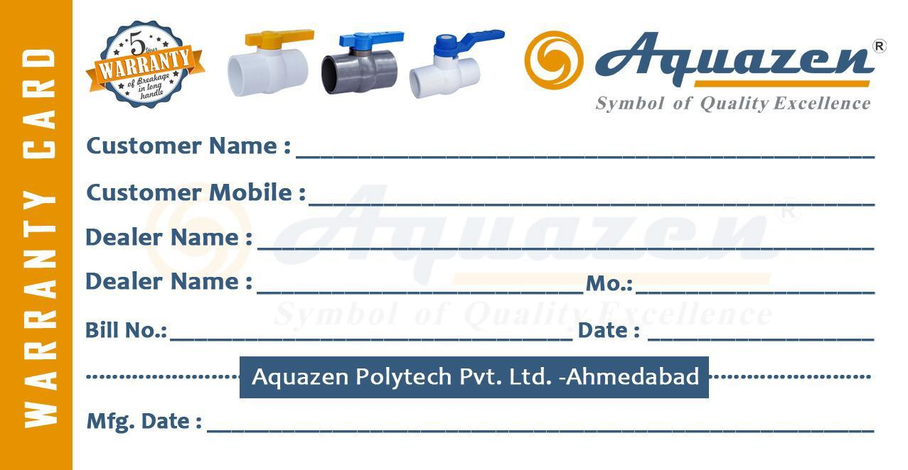 AQUZEN WARRANTY CARD